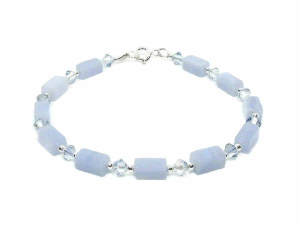 Pastel Blue Lace Agate Bracelet With Swarovski Crystals & Sterling Silver | Silver Sensations